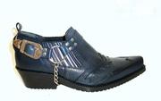 Синие Казаки Etor туфли мужские кожа с рептилией. Стиль. Качество.